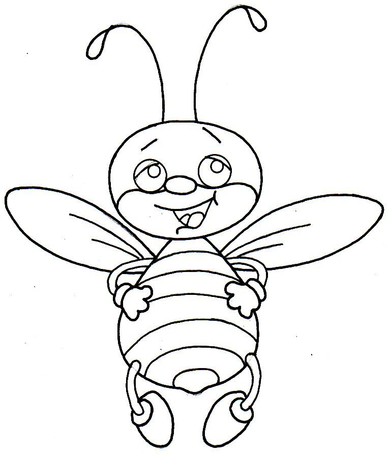 Dz Doodles Bee Happy Image Coloring Pages Bee Printables Painting Crafts