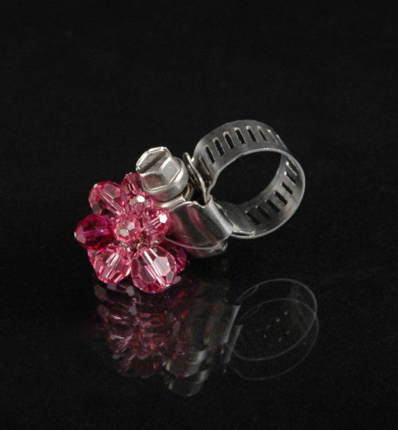 Roseyhosey pink hose clamp ring by FoundryM on Etsy, $30.00  Swarovski crystal and adjustable with a screw driver.