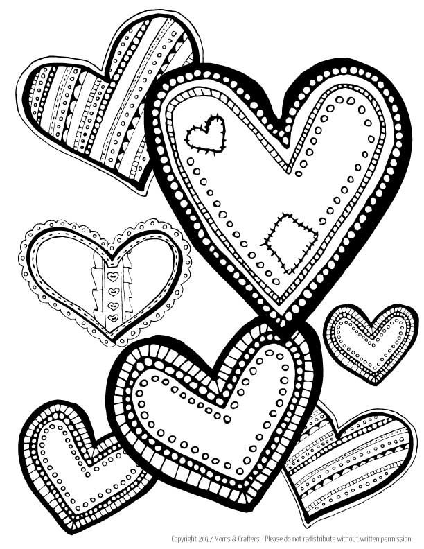 Hearts Coloring Page Download Heart Coloring Pages Love