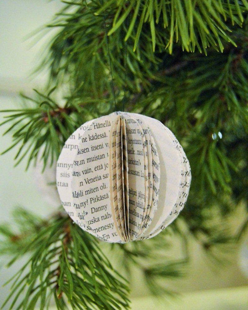 Fabriquer des boules de Noël en papier journal   Boule de noel