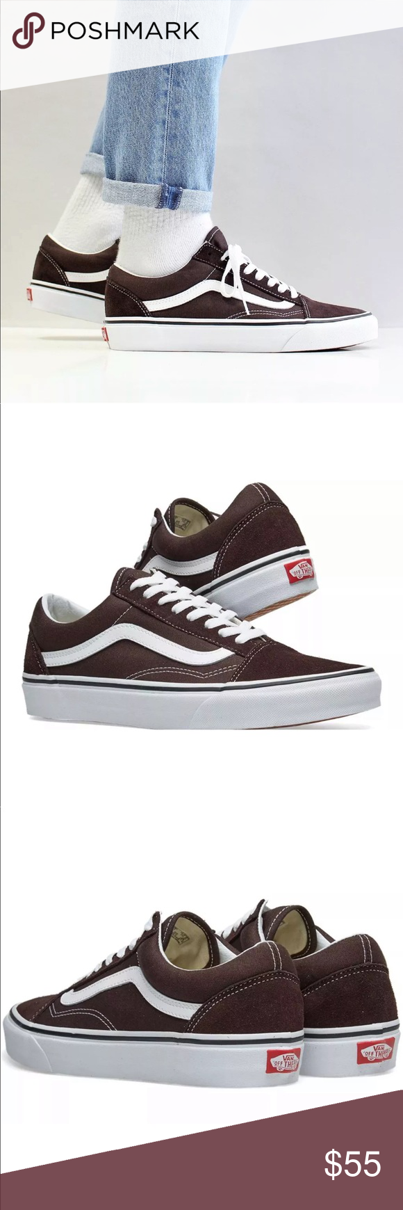 db617109027 Vans Men s Old Skool Chocolate Torte Skate Shoes NEW AUTHENTIC Vans Old  Skool Skate Shoes SIZE MEN S 12 US COLOR  Chocolate Torte True White  DESCRIPTION ...