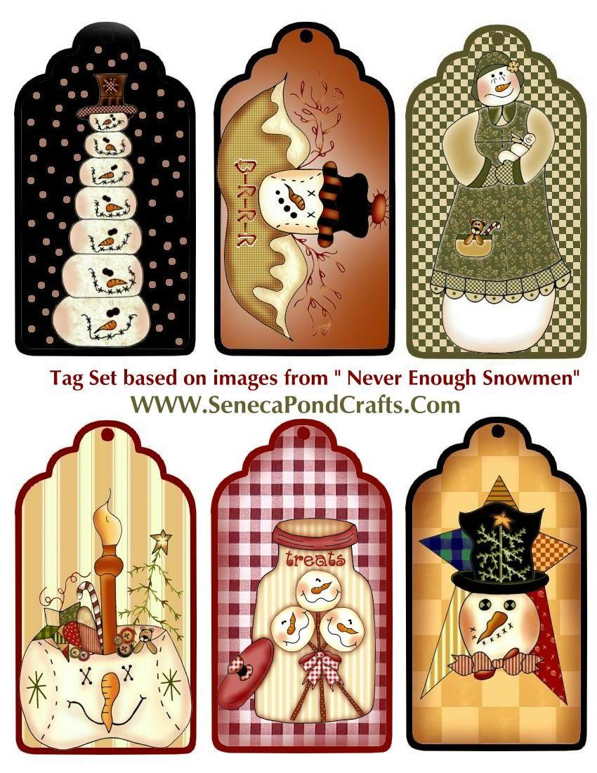 Snowman tag printables