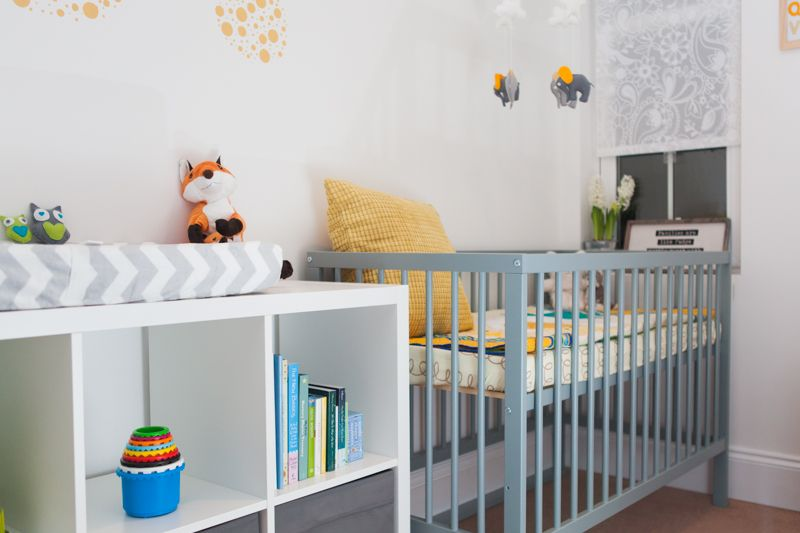 Modern Affordable Nursery Mokee Cot In Stone Teal Ikea Storage Summer Infant Changing Pad Hand Sewn Felt Elephant Stars Clouds Moon Mobile