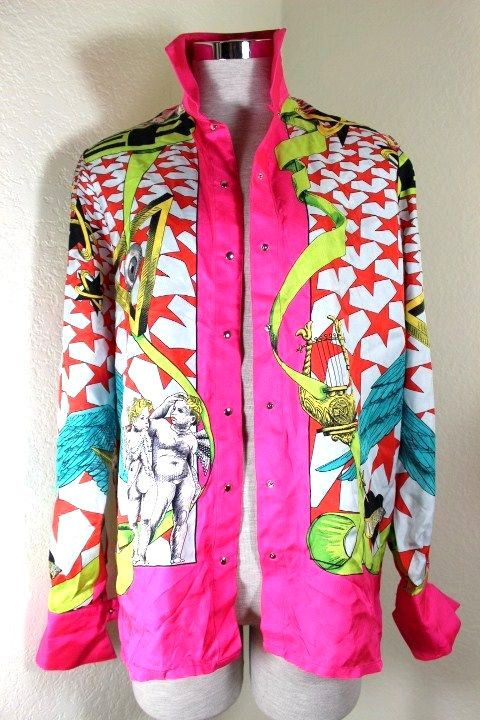 Vintage Thierry MUGLER Pink Printed Baroque Long Sleeve Shirt 38 4 5 6 | Clothing, Shoes & Accessories, Women's Clothing, Tops & Blouses | eBay!
