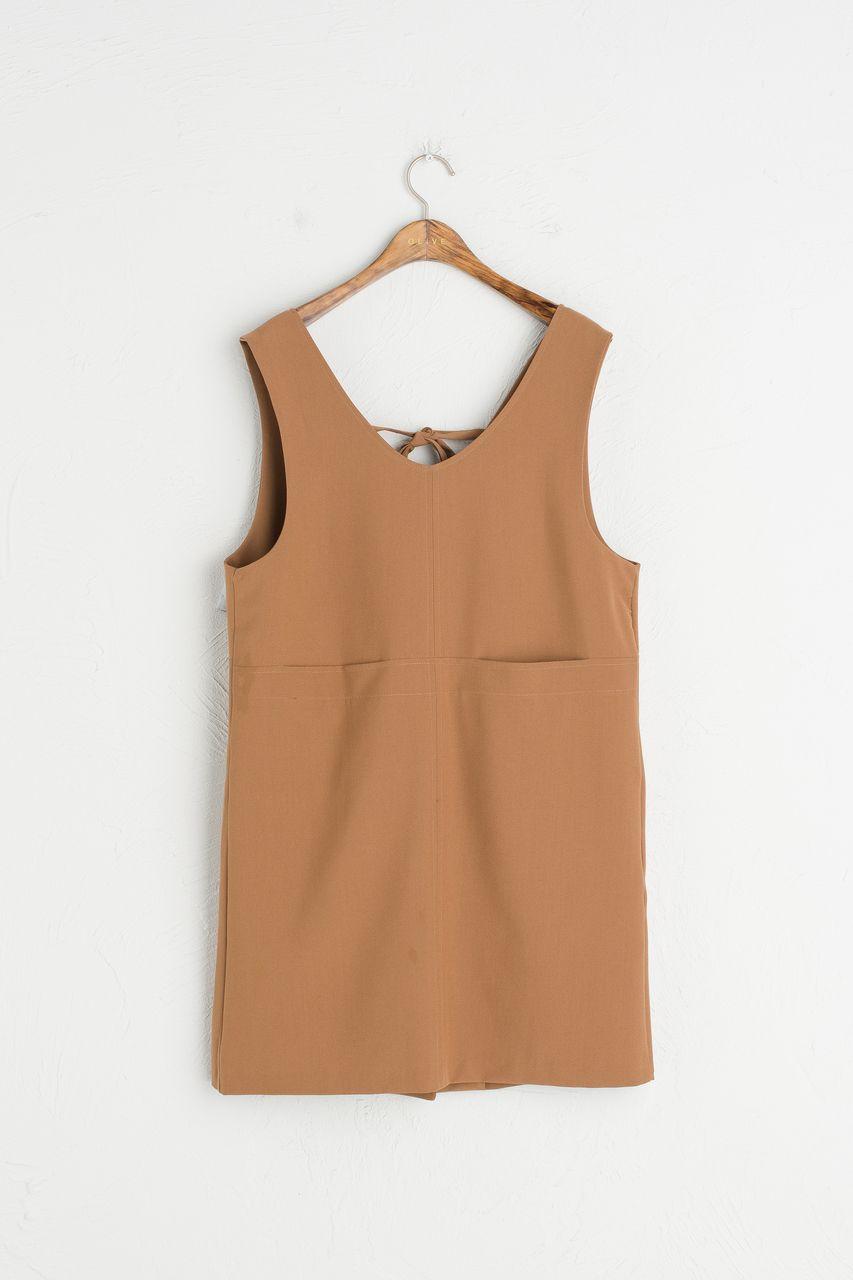 b7226def7e32 Ribbon Back V Neck Pinafore Dress