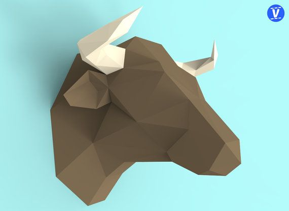 Bull Head Papercraft Pdf Pack 3d Paper Sculpture Template With