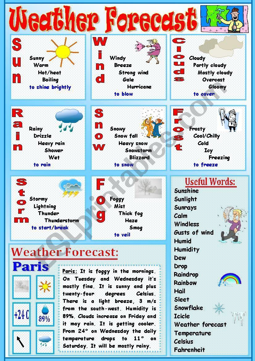 Weather Forecast ESL worksheet by Tmk939 in 2020