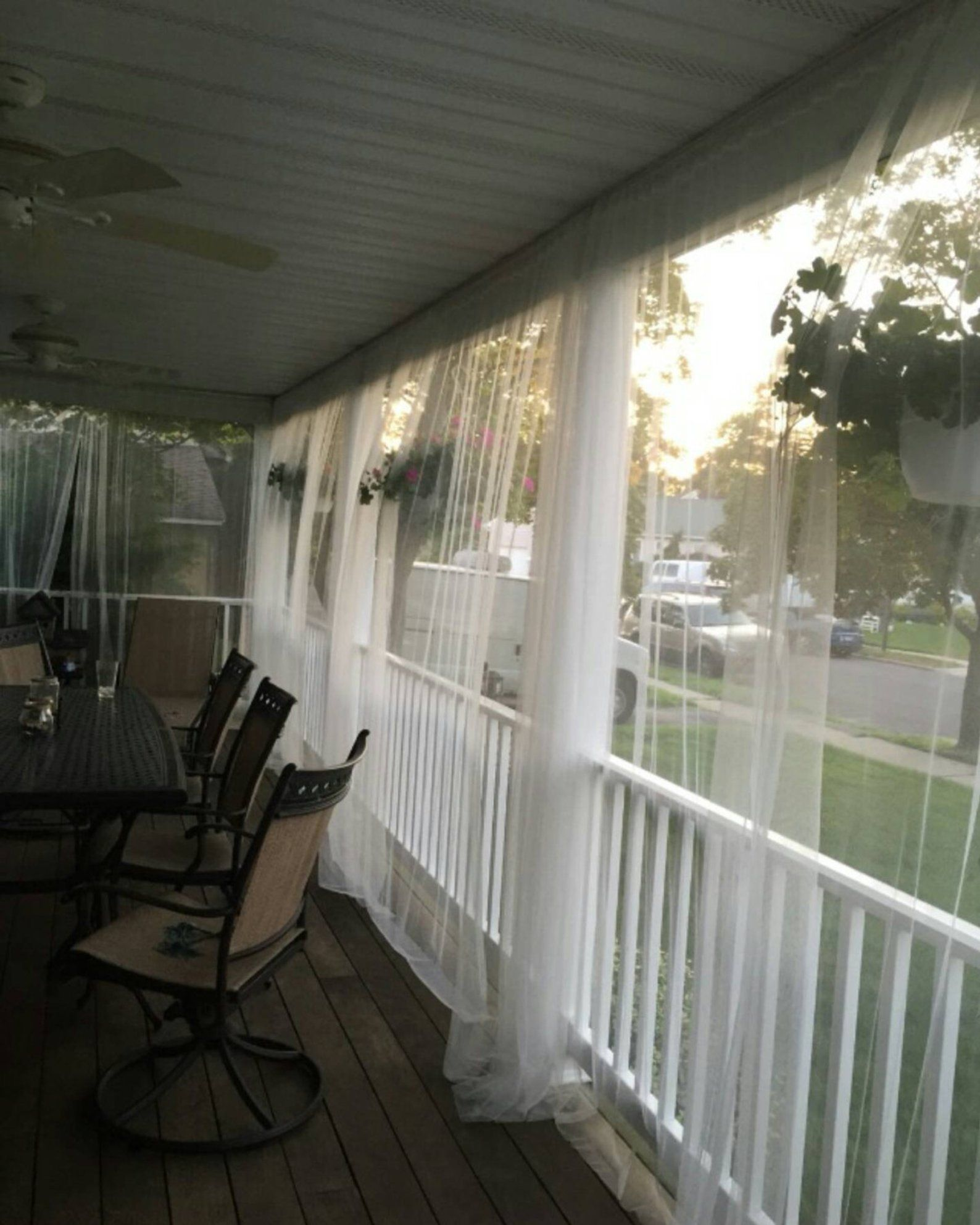 One White Mosquito Netting Curtain For Patio Or Bedroom Window