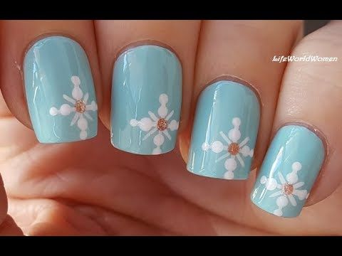 snowflake nail art baby blue christmas winter nails youtube - Blue Christmas Nails