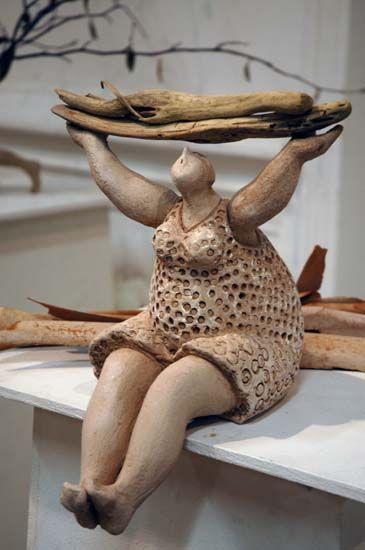 süss die kombination holz und keramik tonfiguren - figuren aus ton selber machen