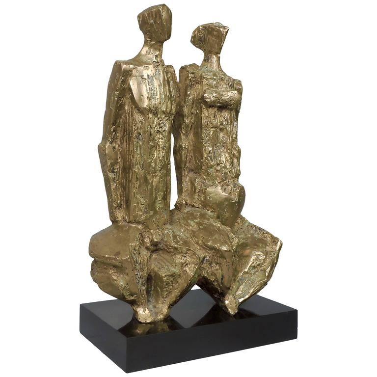 """Jeune Couple"" French Modernist Gilt Bronze Sculpture by Jean-Pierre Malaussena  