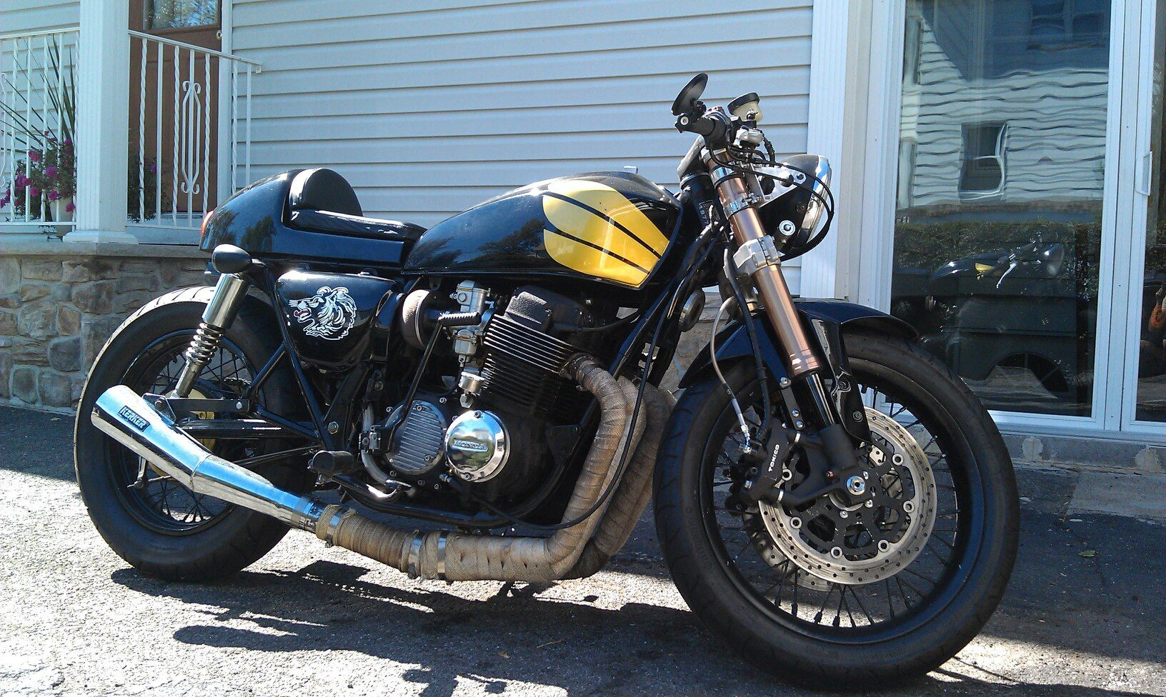 It Is A 1977 Cb750 With 2005 Gsxr 1000 Front End Harley Narrow Glide Wheel R1 Master Cylinder Tintop Intake Roc City Cafe Seat 1954 Jeep Willys