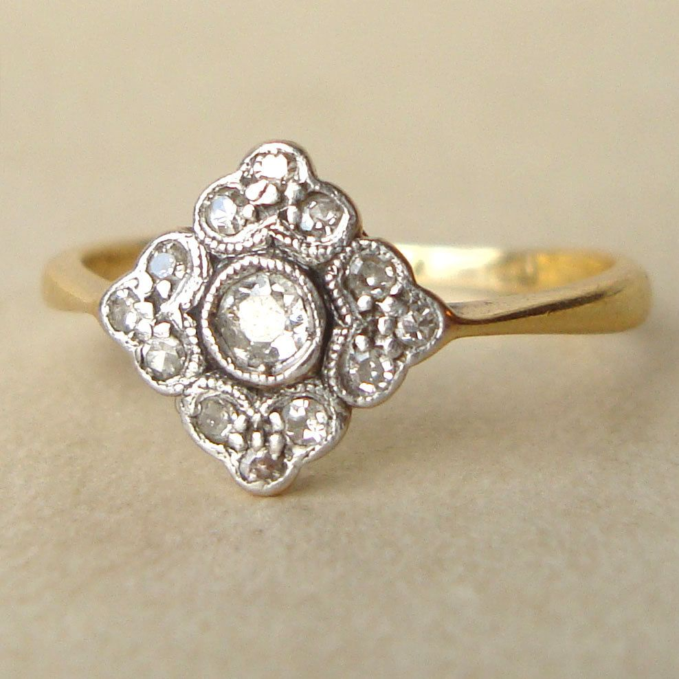 antique victorian diamond ring, victorian 18k gold, platinum and