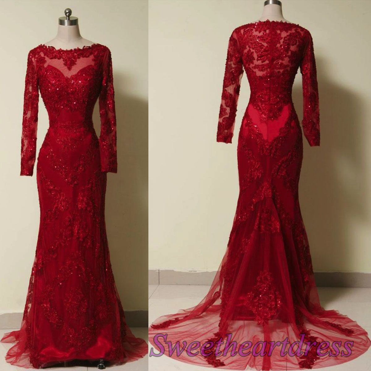 luxuary red lace long sleeves formal evening dress modest prom