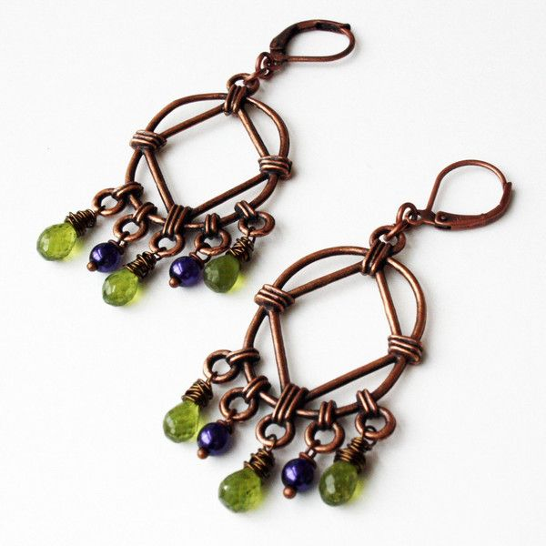 #Purple and #Green #Earrings by Elements & Artifacts