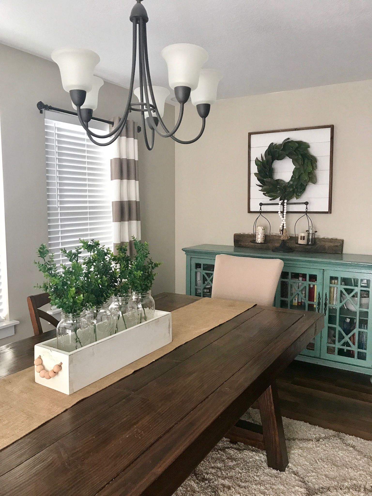 Beautiful Wood Caddy Centerpiece Farmhouse Style Kitchen With A Beautiful Shiplap Si Dining Room Table Centerpieces Dining Room Table Decor Dining Table Decor