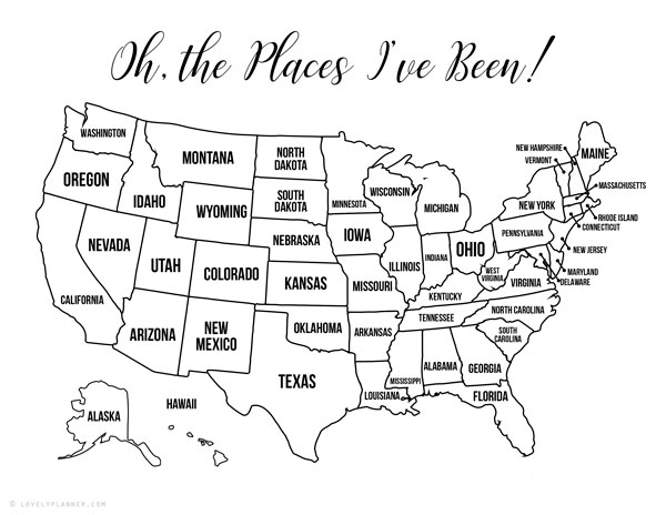 map of the united states black and white printable 13 Free Printable USA Travel Maps for your Bullet Journal   USA