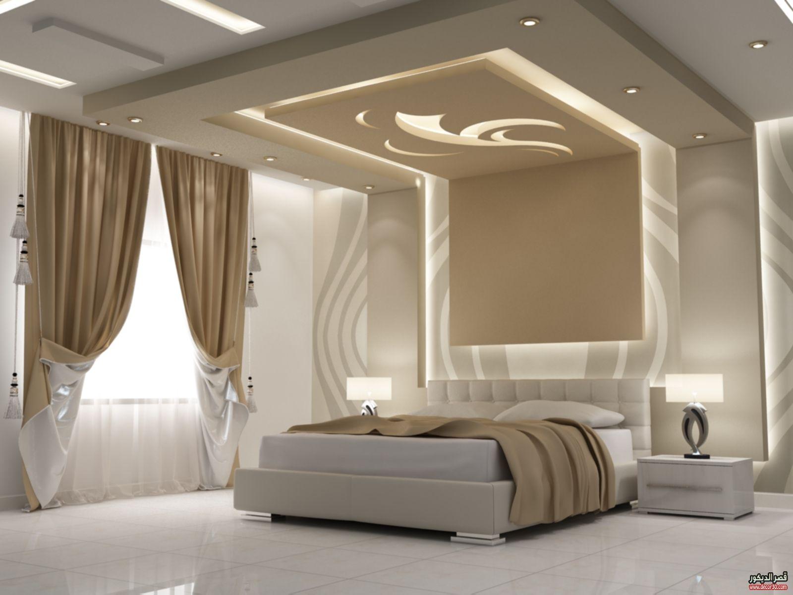 اشكال اسقف جبس بورد غرف وصالات وريسبشن متنوعة قصر الديكور Unique Bedroom Design Ceiling Design Living Room Bedroom False Ceiling Design