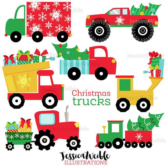 Truck Commercial 2020 Christmas Christmas Trucks Cute Digital Clipart Commercial Use OK | Etsy in