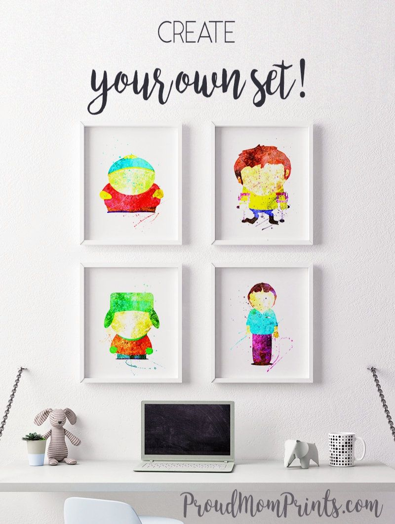 Silhouette Nursery Decor South Park Print Modern Nursery Art Kenny Mccormick South Park Gift South Park Baby Wall Art Folded Book Art Modern Nursery Art