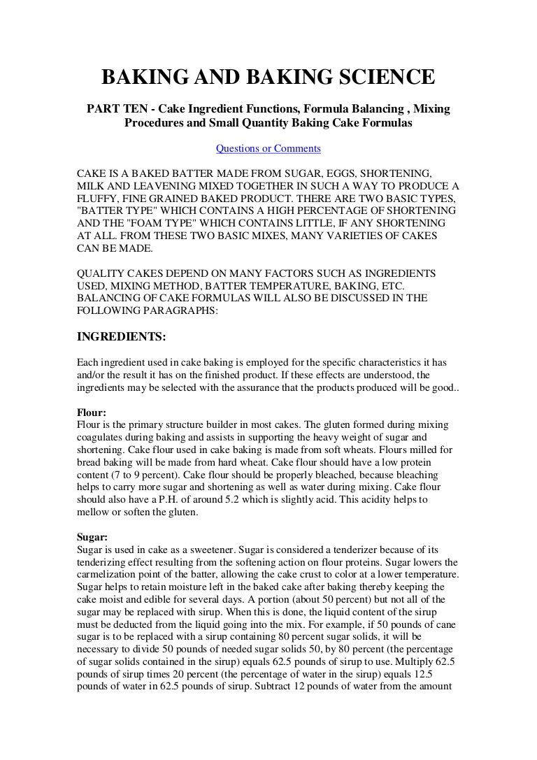Baking And Science Part Ten Cake Ingredient Function Formula Balancing Mixing Pro Essay Format Example Middle School History Teacher On Human Development Psychology