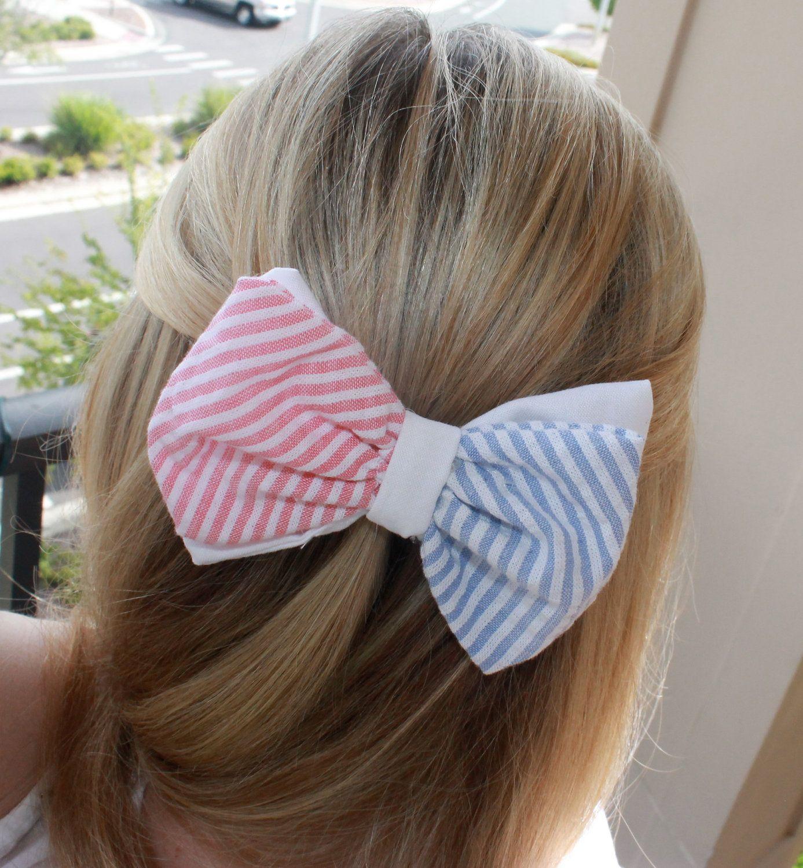 Seersucker all american bow tie style hair barrette fashion