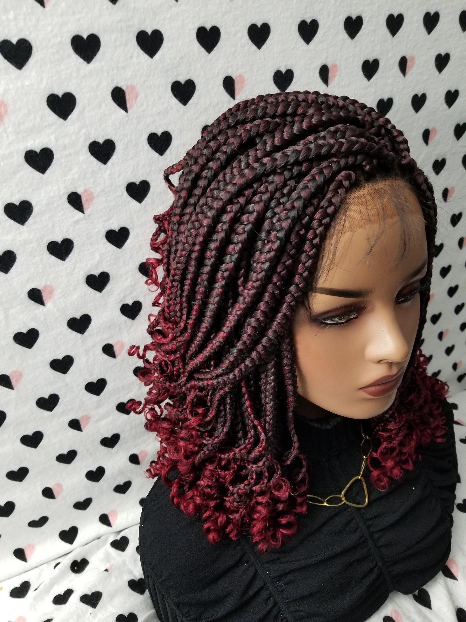Handmade Box Braid Braided Lace Front Wig With Curly Ends Etsy Box Braids Hairstyles Hair Styles Lace Frontal Wig