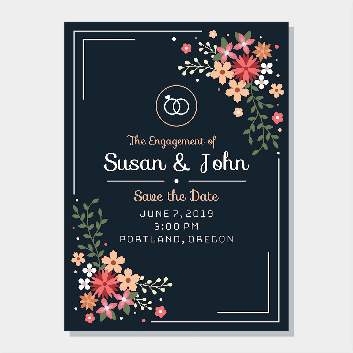 Engagement Invitation Template Vector  Engagement invitation