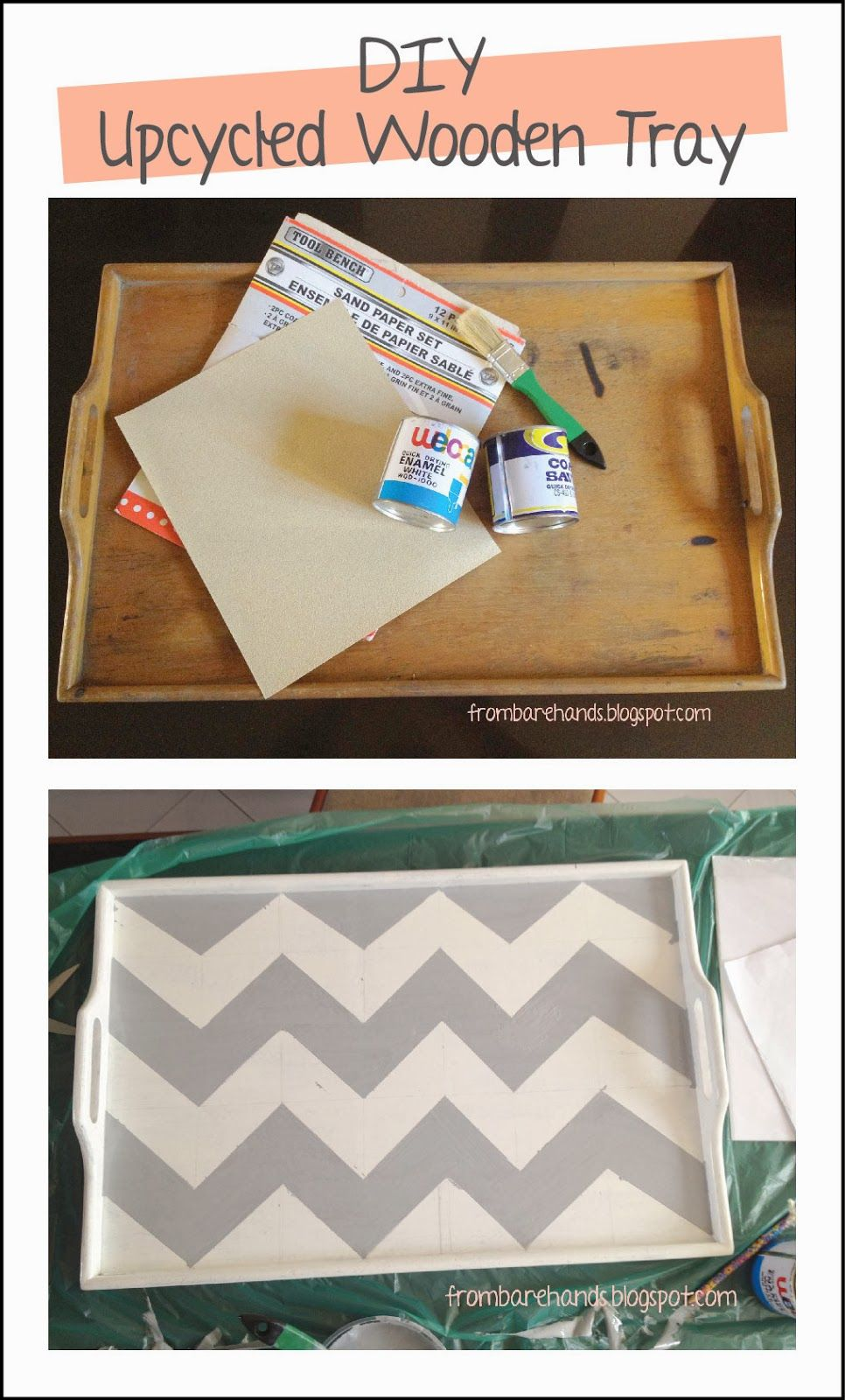 From Bare Hands: DIY: Wooden Tray Upcycle - Chevron Pattern