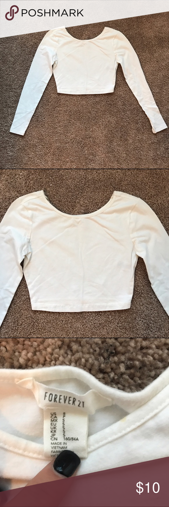 White Long Sleeve Crop Top. Never worn. No trades. True to size. Size small. Forever 21 Tops
