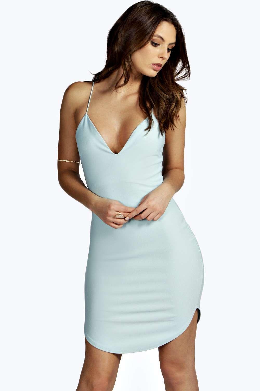 Christel Curved Hem Strappy Bodycon Dress Boohoo Uk Bodycon Dress Blue Bodycon Dress Women Dress Online [ 1500 x 1000 Pixel ]