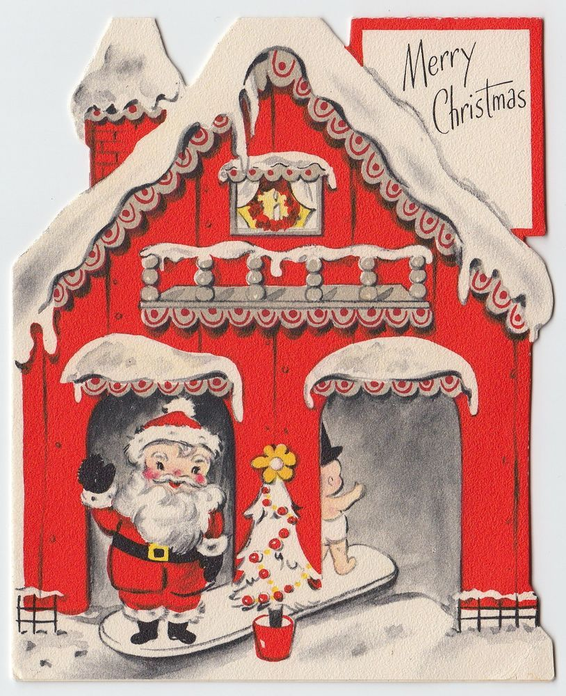 Vintage greeting card christmas die cut house santa new year baby vintage greeting card christmas die cut house santa new year baby hallmark e498 kristyandbryce Image collections