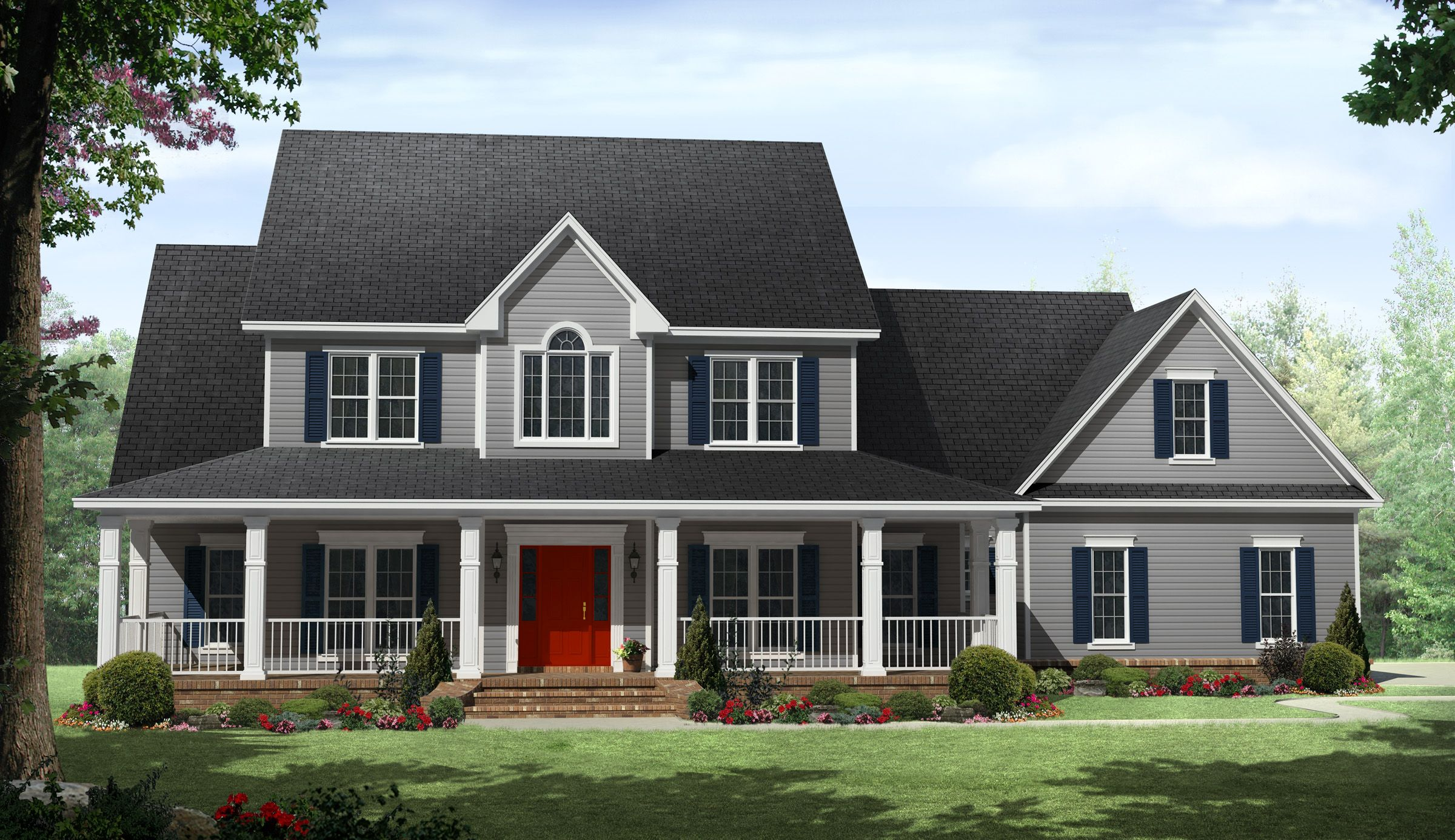 country beauty with wraparound porch 51118mm country farmhouse traditional photo gallery - 2 Story Country House Plans