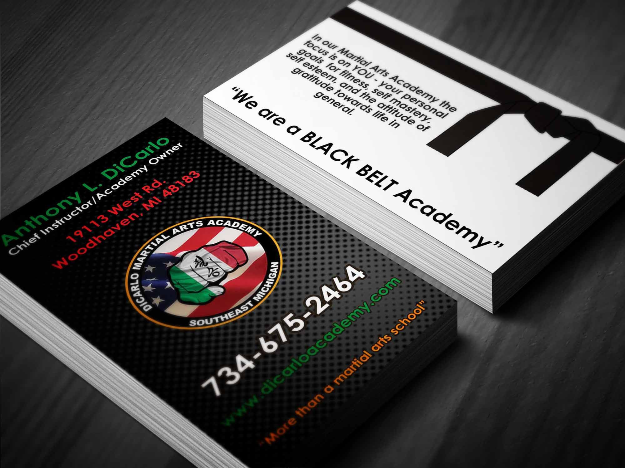 Business card design for a local martial arts studio http://www ...