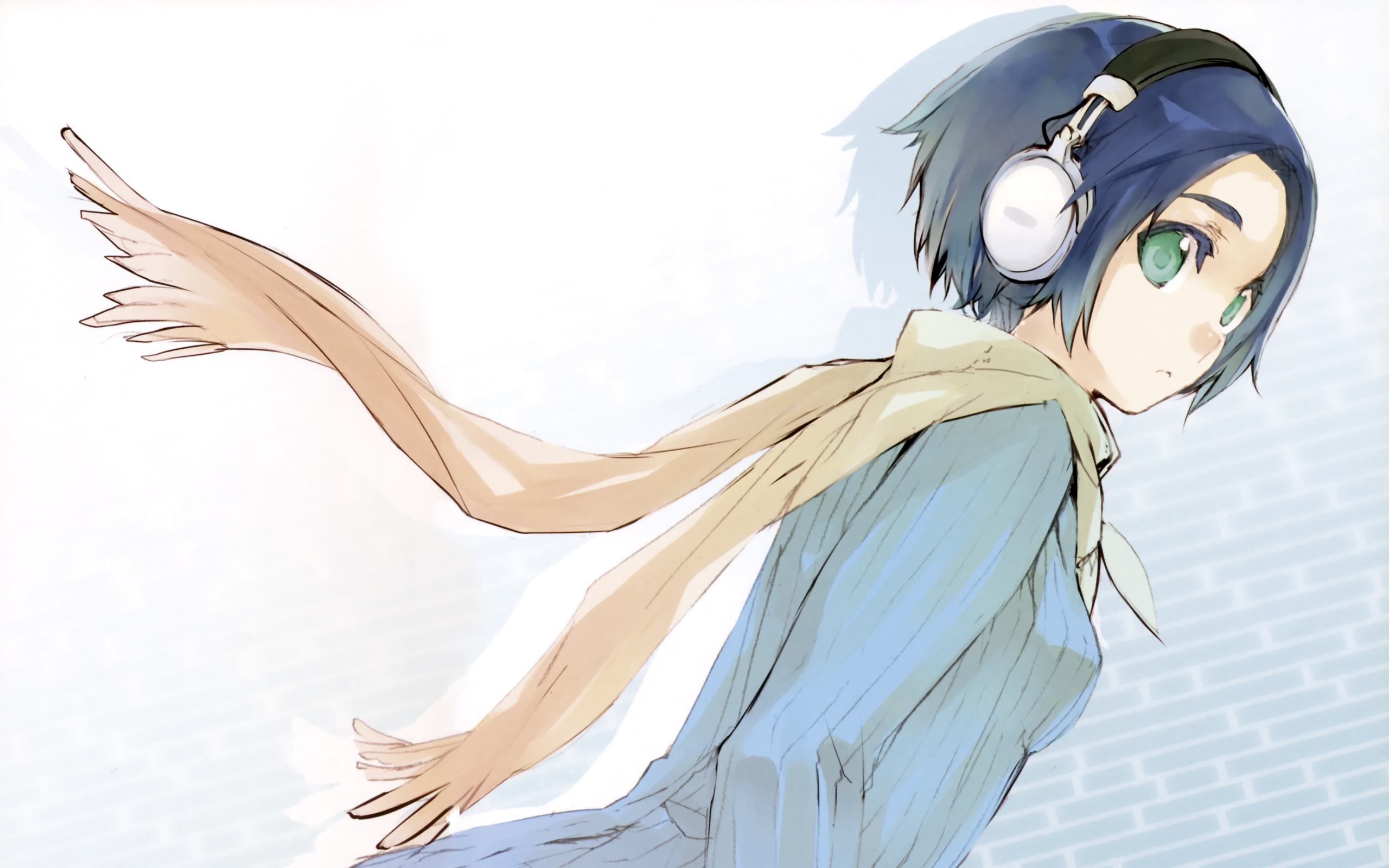 Anime Girls Blue Hair Bowtie Clouds Headphones Red Eyes Tablets ...