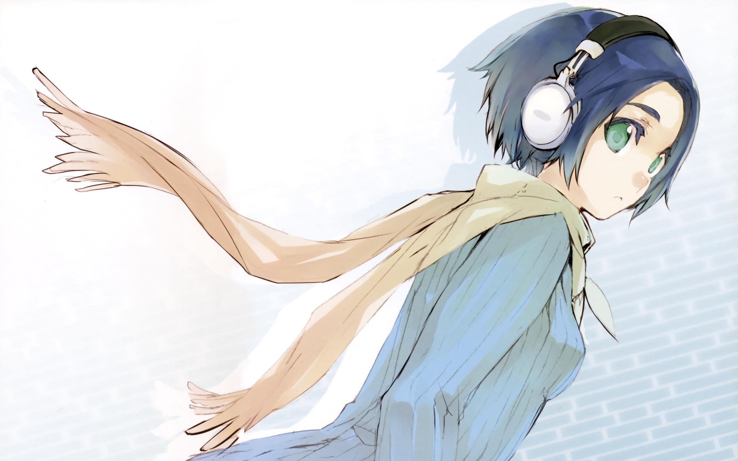 headphones blue hair headphones girl green eyes short hair