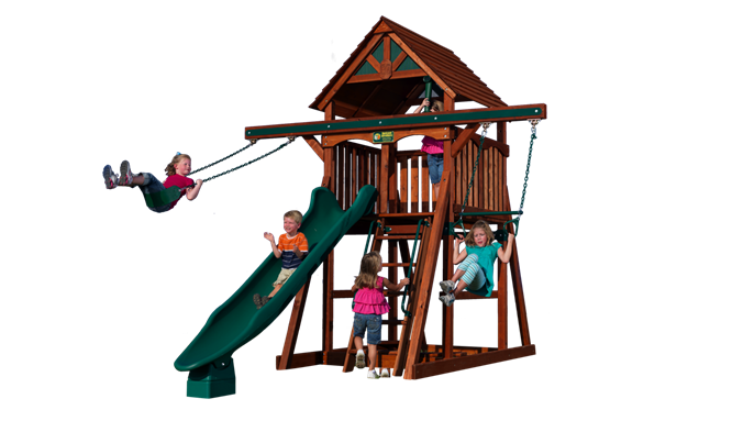 Bon Adventure Treehouse 1 Play Set Shown With: Double Accessory Arm, Belt  Swing, Trapeze