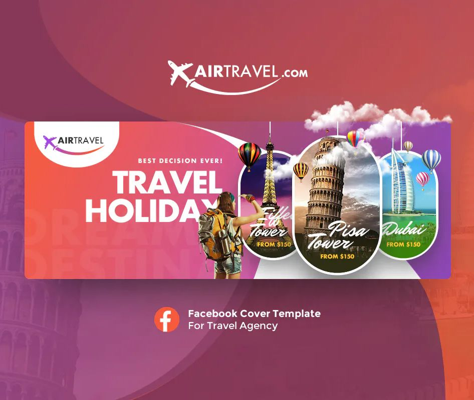 Air Travel Facebook Cover Template Psd Facebook Cover Template Social Media Design Graphics Creative Facebook Cover
