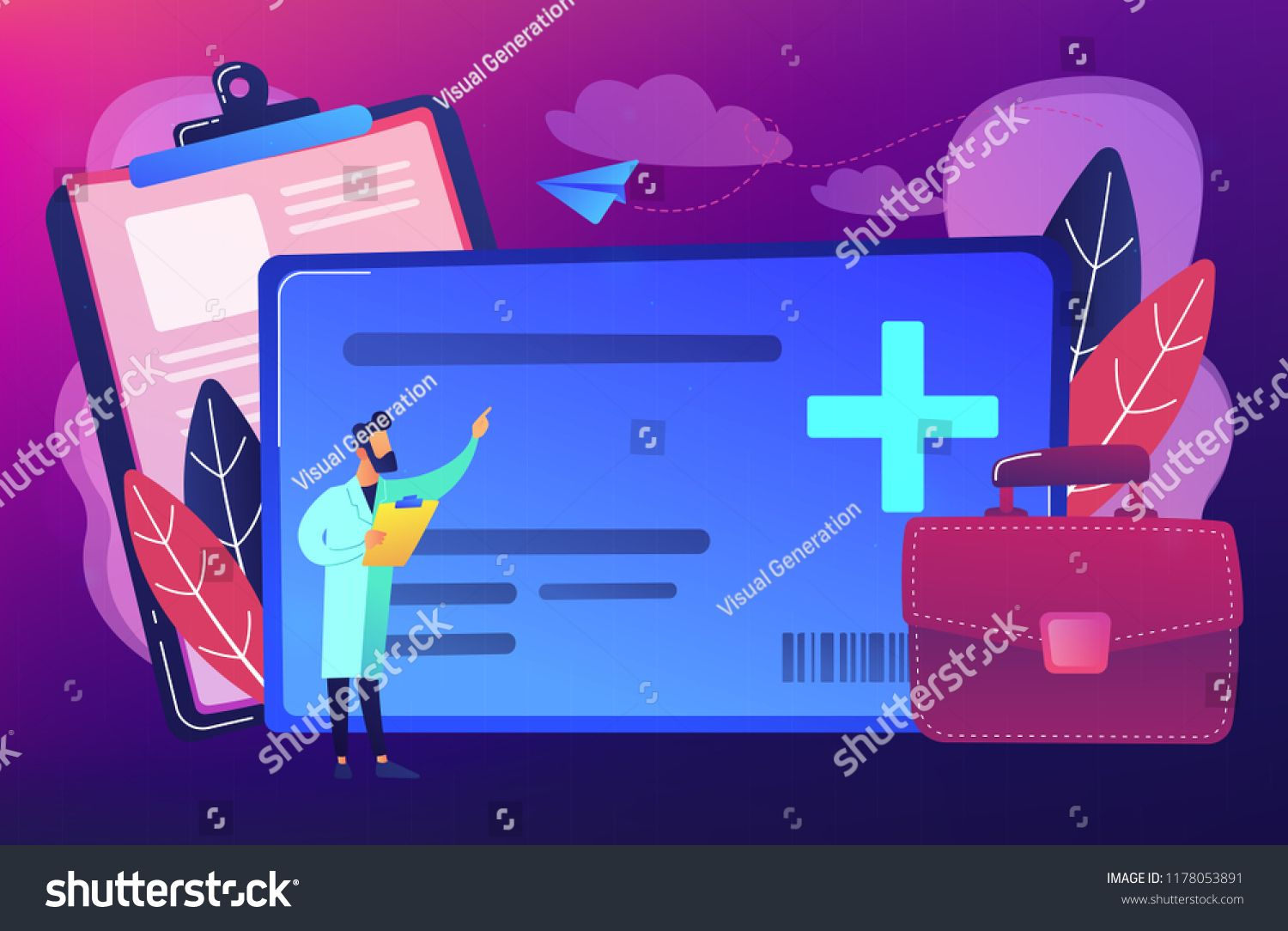 Healthcare smart card and doctor. Digital health and