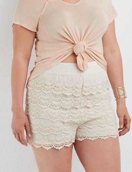 Plus Size Tiered Crochet Shorts Curvy Girl Fashion Crochet