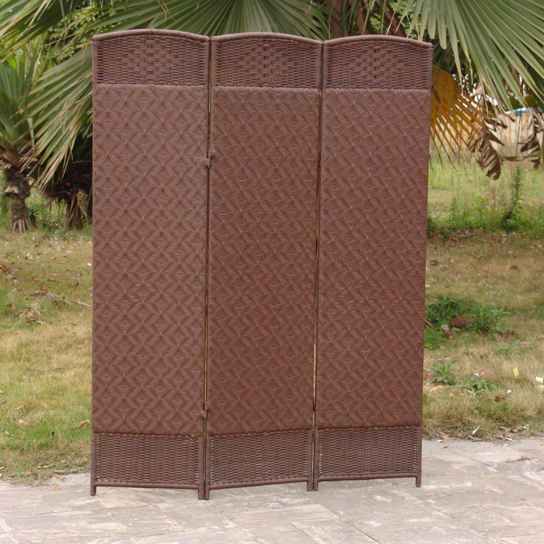 Outdoorindoor woven resin panel room divider cappuccino cdi
