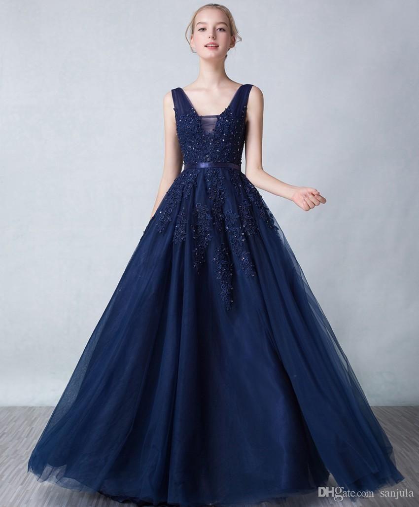0bde0d7bf Elegant V Neck Navy Blue Evening Gowns With Appliques Beads Long Tulle Formal  Dresses Low Back Graduation Wear C1014 Navy Blue Evening Gowns V Neck  Evening ...