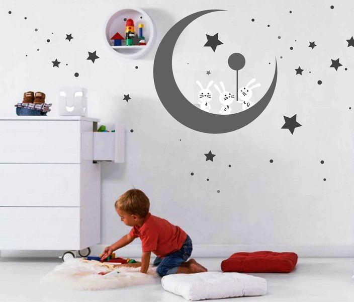 Kinderzimmerdekoration Wandtattoo Kinderzimmer Mond Und Hase