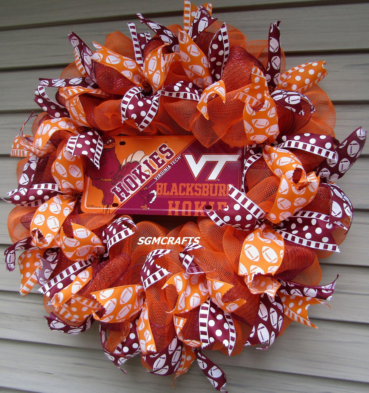 Virginia Tech Deco Mesh Wreath Vt Wreath Virginia Tech Decor Vt Decor Virginia Tech Fan Wreath Vt Hokies Wreath Virginia Tech Sports Wreath In 2020 Holiday Tree Toppers Deco Mesh Wreaths