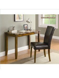 home office desk and chair set with faux marble top in walnut finish rh pinterest com