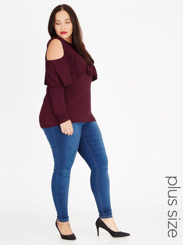 be6717c13e0 STYLE REPUBLIC PLUS Cold Shoulder Frill Top Dark Red ... Spree (sleeves)