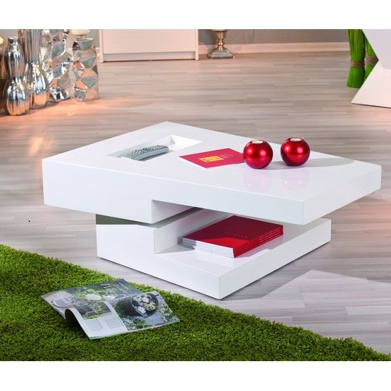 Rotating White Gloss Coffee Table