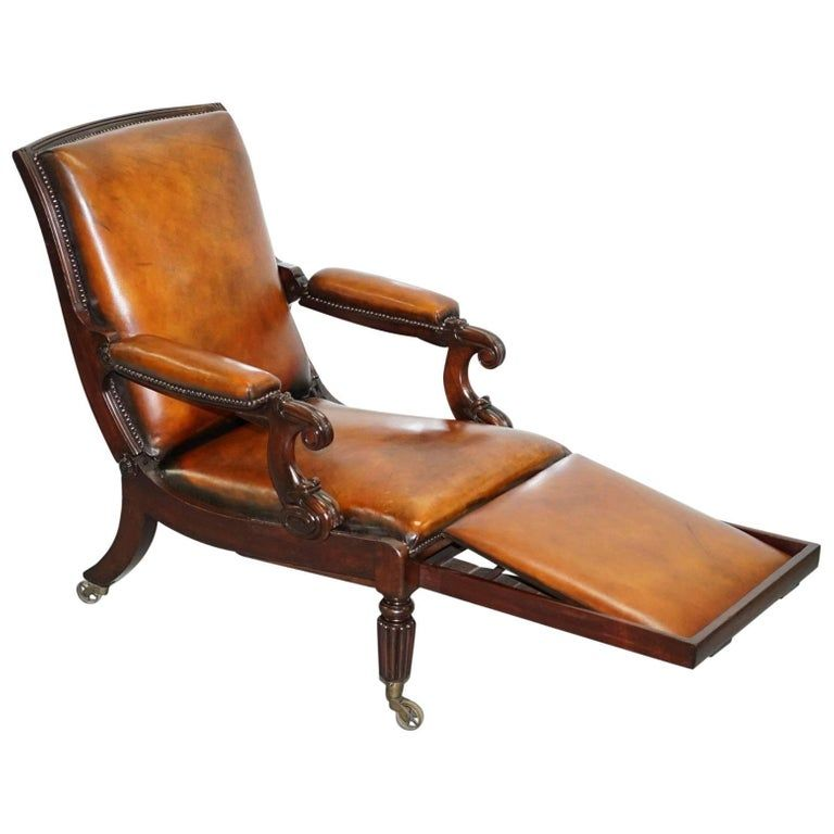 Restored William IV Reclining Library Reading Brown ...