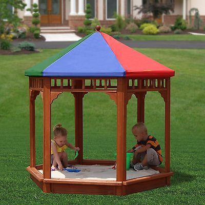 Kids Gazebo Sandbox Canopy Cover Outdoor Play Sun Shelter Wood Sand Box Children & Kids Gazebo Sandbox Canopy Cover Outdoor Play Sun Shelter Wood ...