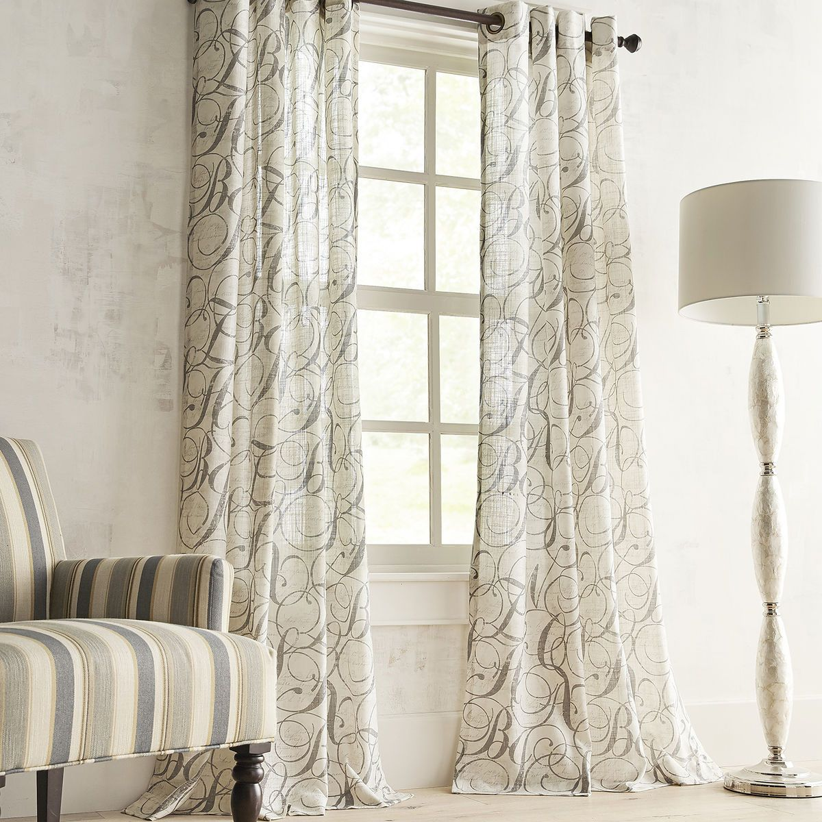 pier 1 imports home office. Gray Calligraphy Curtain | Pier 1 Imports Home Office